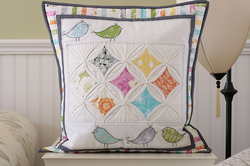 Cathedral Window Birdie Pillow